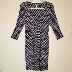 SOMA 3/4 Length Sleeve Geometric Patterned Dress